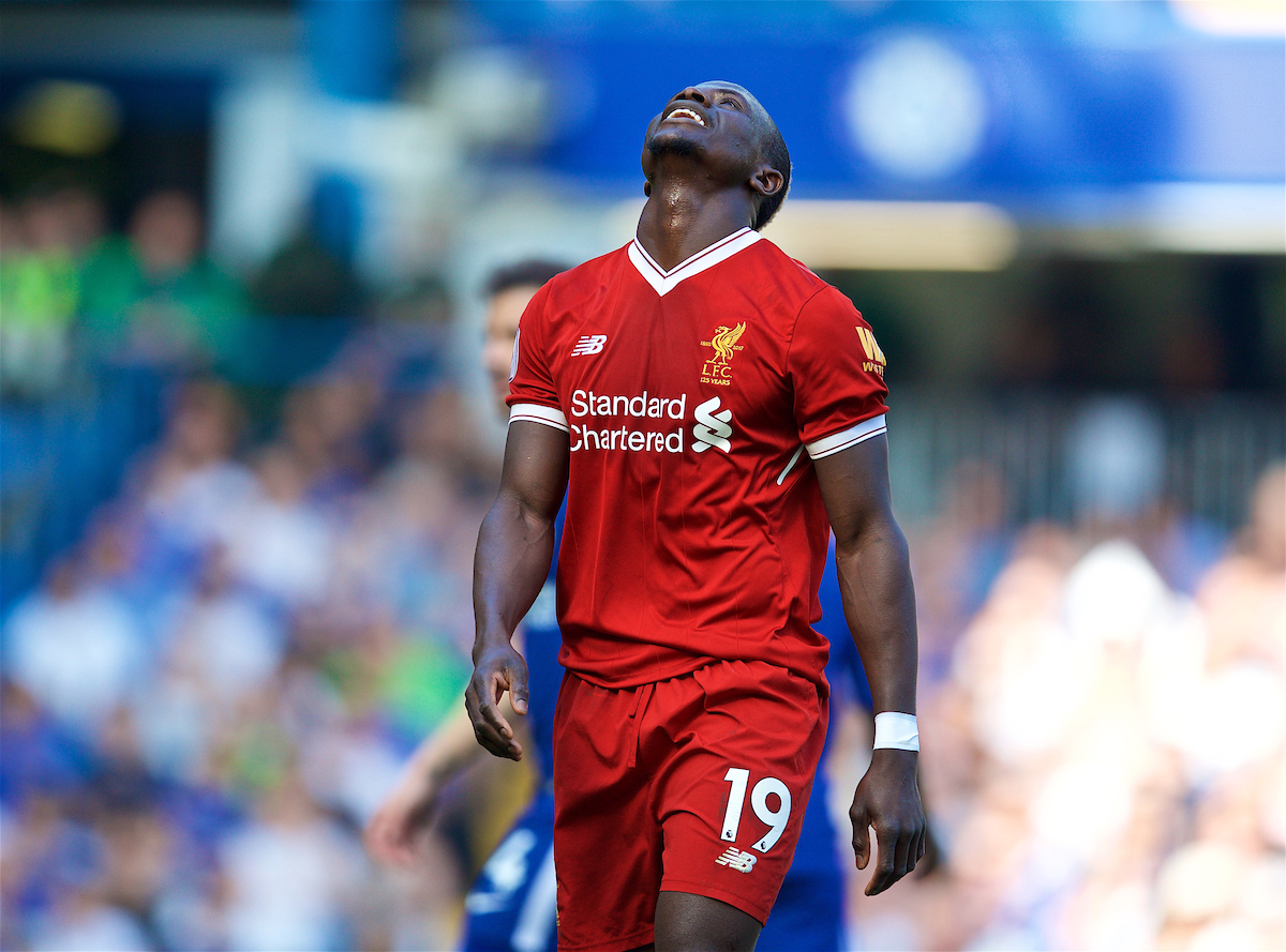 LONDON, ENGLAND - Sunday, May 6, 2018: Liverpool's Sadio Mane looks dejected after missing a chance during the FA Premier League match between Chelsea FC and Liverpool FC at Stamford Bridge. (Pic by David Rawcliffe/Propaganda)