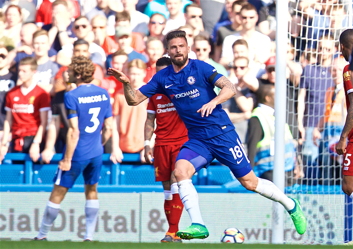 LONDON, ENGLAND - Sunday, May 6, 2018: Chelsea's Olivier Giroud celebrates scoring the first goal during the FA Premier League match between Chelsea FC and Liverpool FC at Stamford Bridge. (Pic by David Rawcliffe/Propaganda)
