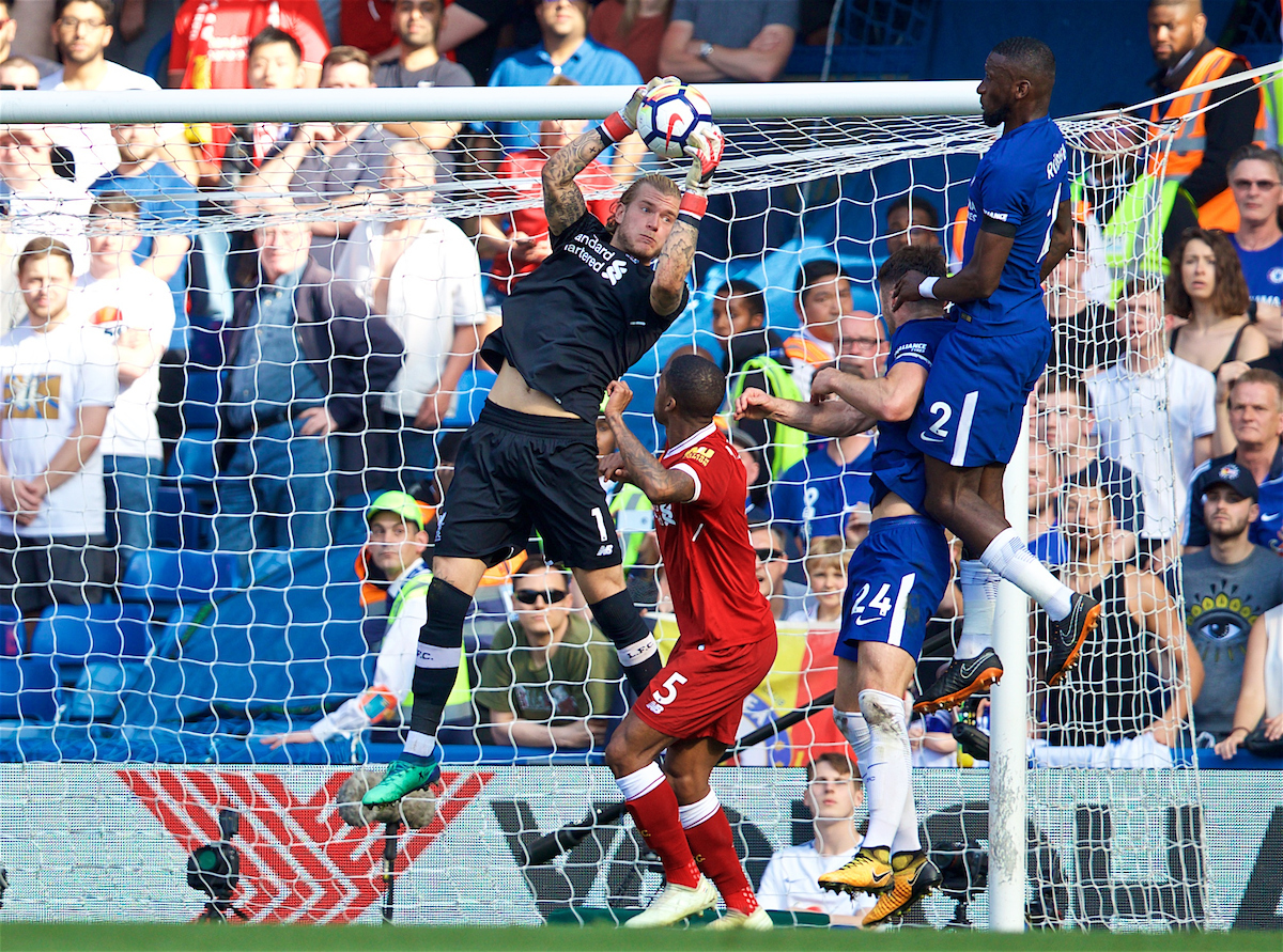 LONDON, ENGLAND - Sunday, May 6, 2018: Liverpool's goalkeeper Loris Karius during the FA Premier League match between Chelsea FC and Liverpool FC at Stamford Bridge. (Pic by David Rawcliffe/Propaganda)