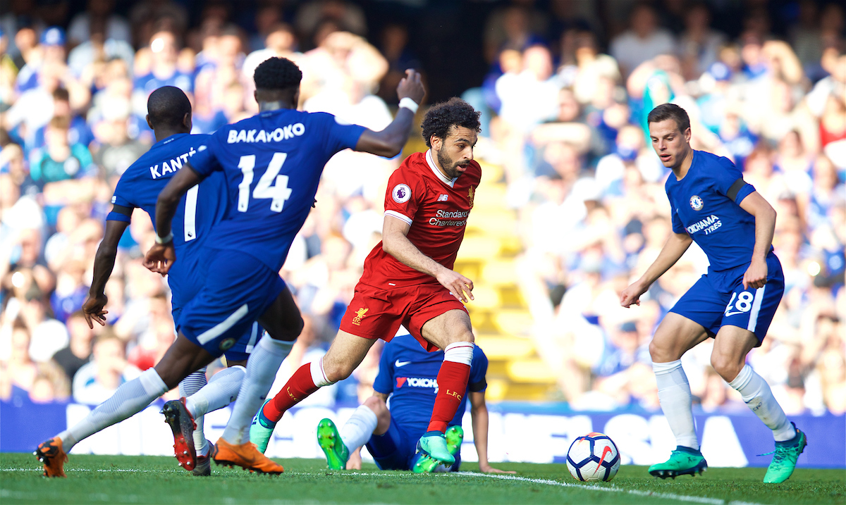 LONDON, ENGLAND - Sunday, May 6, 2018: Liverpool's Mohamed Salah attempts to pass four Chelsea players during the FA Premier League match between Chelsea FC and Liverpool FC at Stamford Bridge. (Pic by David Rawcliffe/Propaganda)
