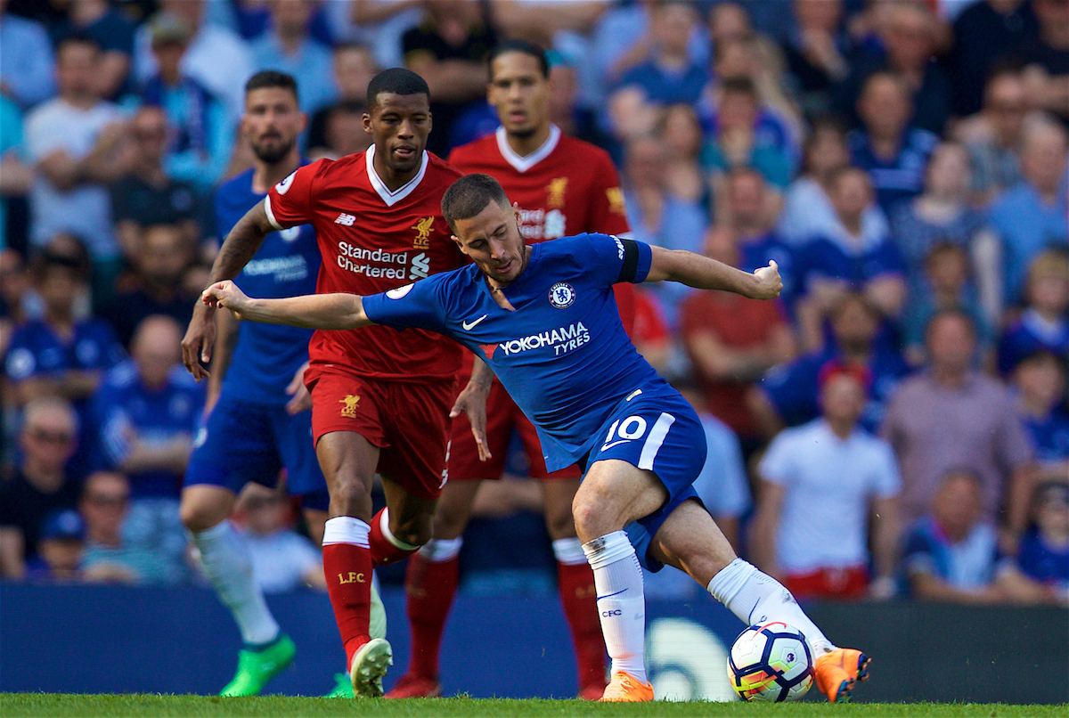 LONDON, ENGLAND - Sunday, May 6, 2018: Chelsea's Eden Hazard attempts a rabona pass as Liverpool's Georginio Wijnaldum looks on the FA Premier League match between Chelsea FC and Liverpool FC at Stamford Bridge. (Pic by David Rawcliffe/Propaganda)