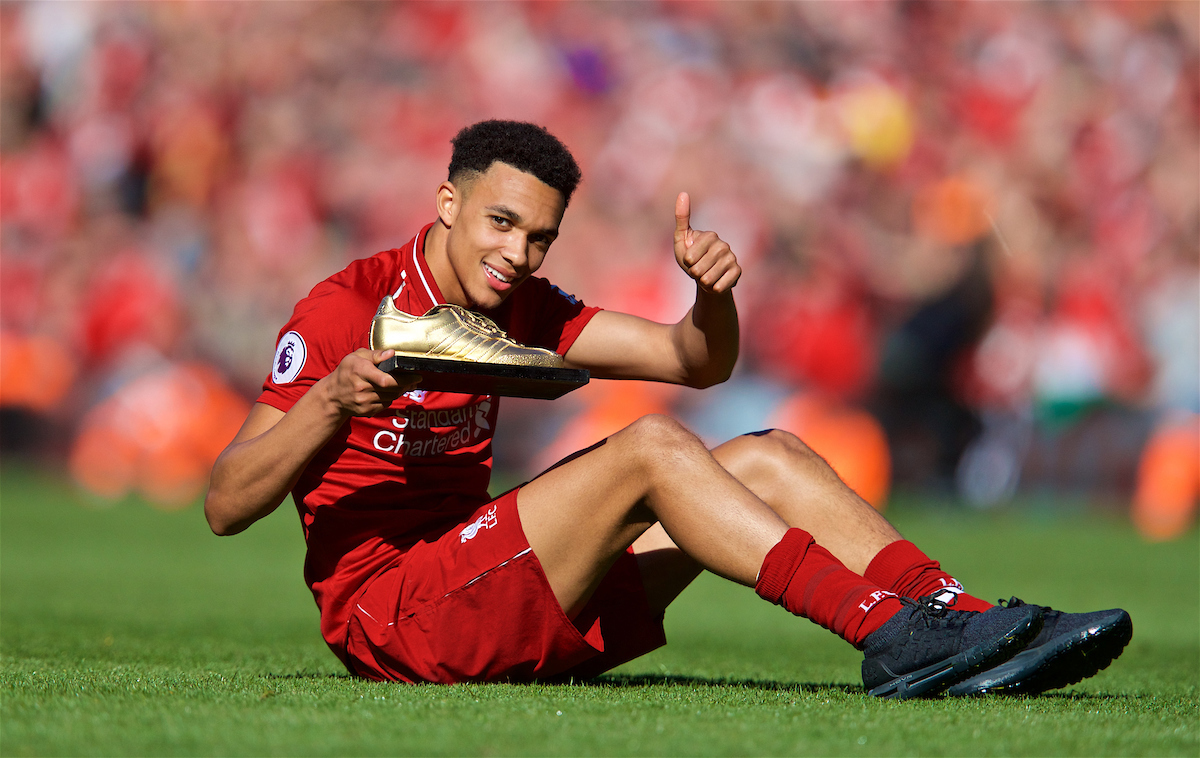 LIVERPOOL, ENGLAND - Sunday, May 13, 2018: Liverpool's Trent Alexander-Arnold with his Golden Samba supporters' award for Young Player of the Season after the FA Premier League match between Liverpool FC and Brighton & Hove Albion FC at Anfield. (Pic by David Rawcliffe/Propaganda)