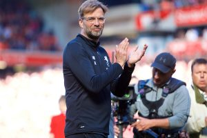 LIVERPOOL, ENGLAND - Sunday, May 13, 2018: Liverpool's manager Jürgen Klopp applauds the supporters as the players perform a lap of honour after the FA Premier League match between Liverpool FC and Brighton & Hove Albion FC at Anfield. Liverpool won 4-0. (Pic by David Rawcliffe/Propaganda)