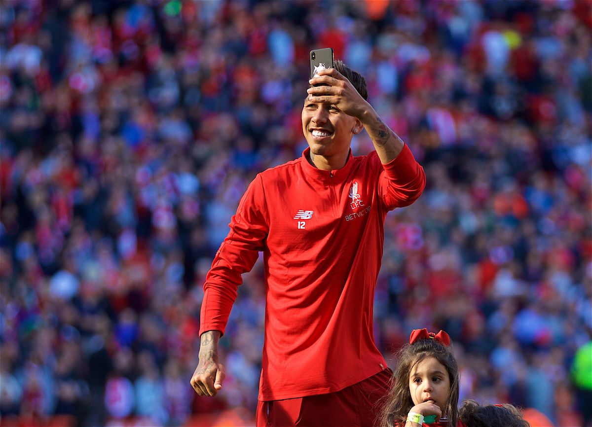 LIVERPOOL, ENGLAND - Sunday, May 13, 2018: Liverpool's Roberto Firmino films the supporters as the players go on a lap of honour after the FA Premier League match between Liverpool FC and Brighton & Hove Albion FC at Anfield. (Pic by David Rawcliffe/Propaganda)