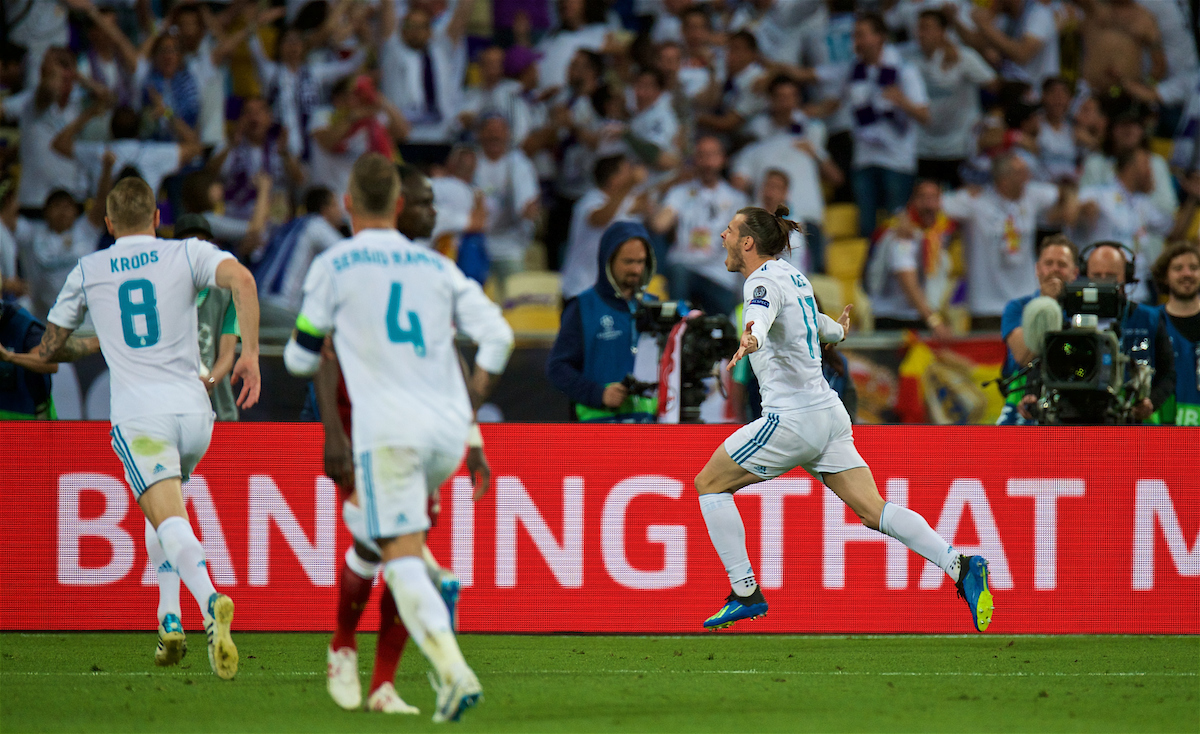 KIEV, UKRAINE - Saturday, May 26, 2018: Real Madrid's substitute Gareth Bale celebrates scoring the second goal during the UEFA Champions League Final match between Real Madrid CF and Liverpool FC at the NSC Olimpiyskiy. (Pic by Peter Powell/Propaganda)