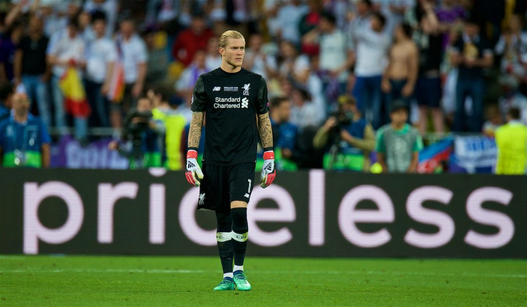 KIEV, UKRAINE - Saturday, May 26, 2018: Liverpool's goalkeeper Loris Karius who made priceless mistakes that cost his side during the UEFA Champions League Final match between Real Madrid CF and Liverpool FC at the NSC Olimpiyskiy. (Pic by Peter Powell/Propaganda)