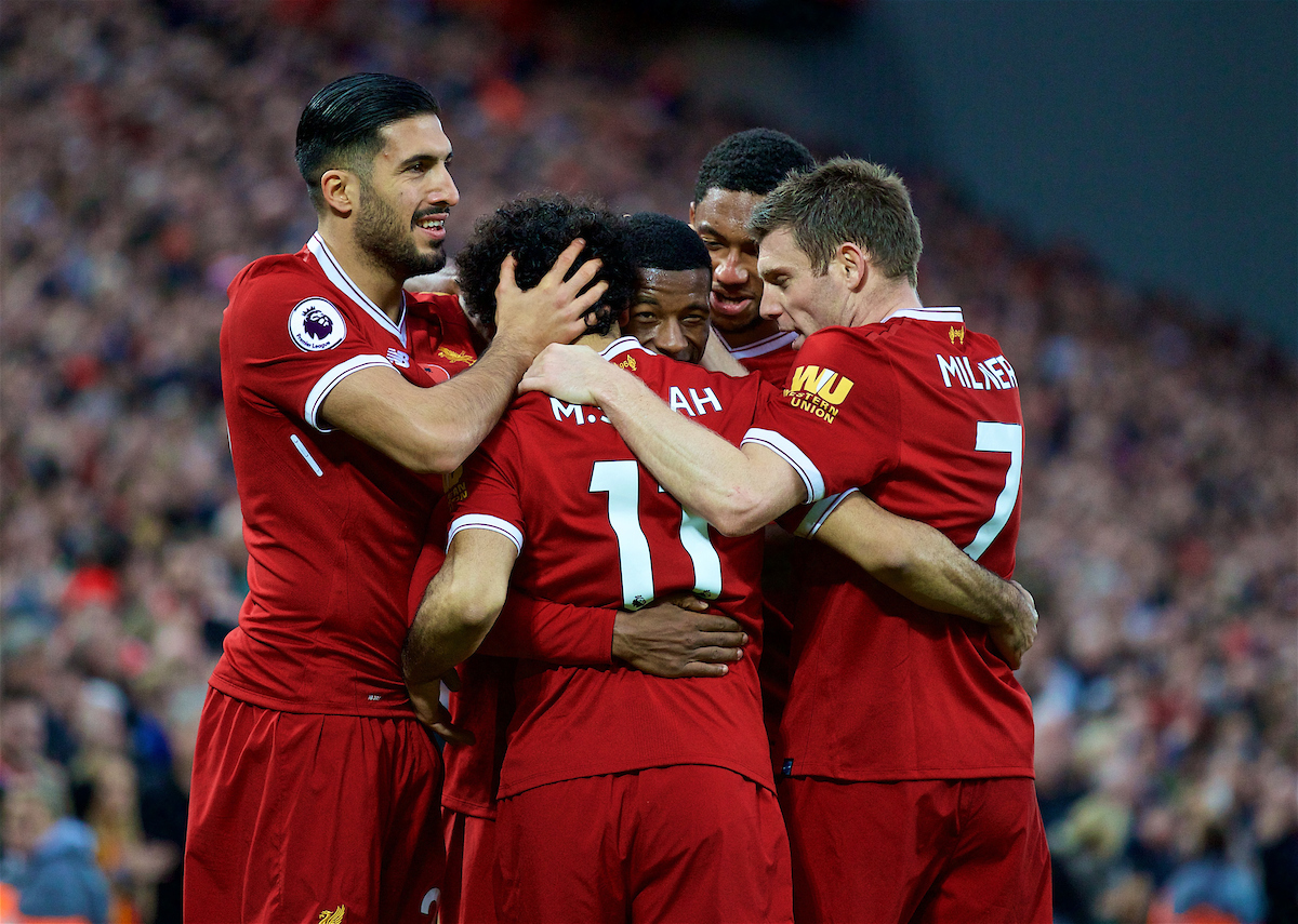 LIVERPOOL, ENGLAND - Saturday, October 28, 2017: Liverpool's Georginio Wijnaldum celebrates scoring the third goal with team-mates Emre Can, Mohamed Salah, Joel Matip and James Milner during the FA Premier League match between Liverpool and Huddersfield Town at Anfield. (Pic by David Rawcliffe/Propaganda)