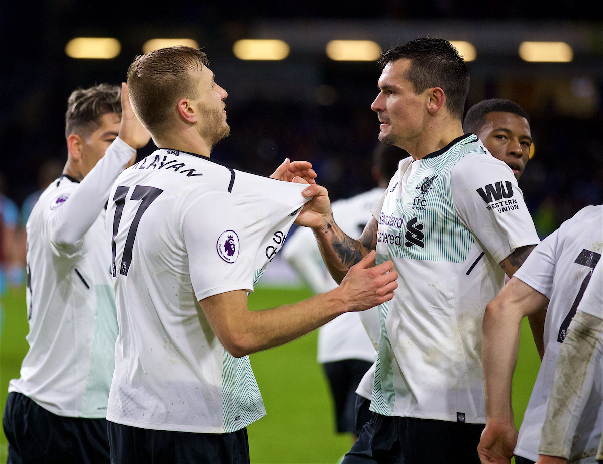 LIVERPOOL, ENGLAND - Saturday, December 30, 2017: Liverpool's Ragnar Klavan celebrates scoring the winning second goal with a header with team-mate Dejan Lovren during the FA Premier League match between Liverpool and Leicester City at Anfield. (Pic by David Rawcliffe/Propaganda)