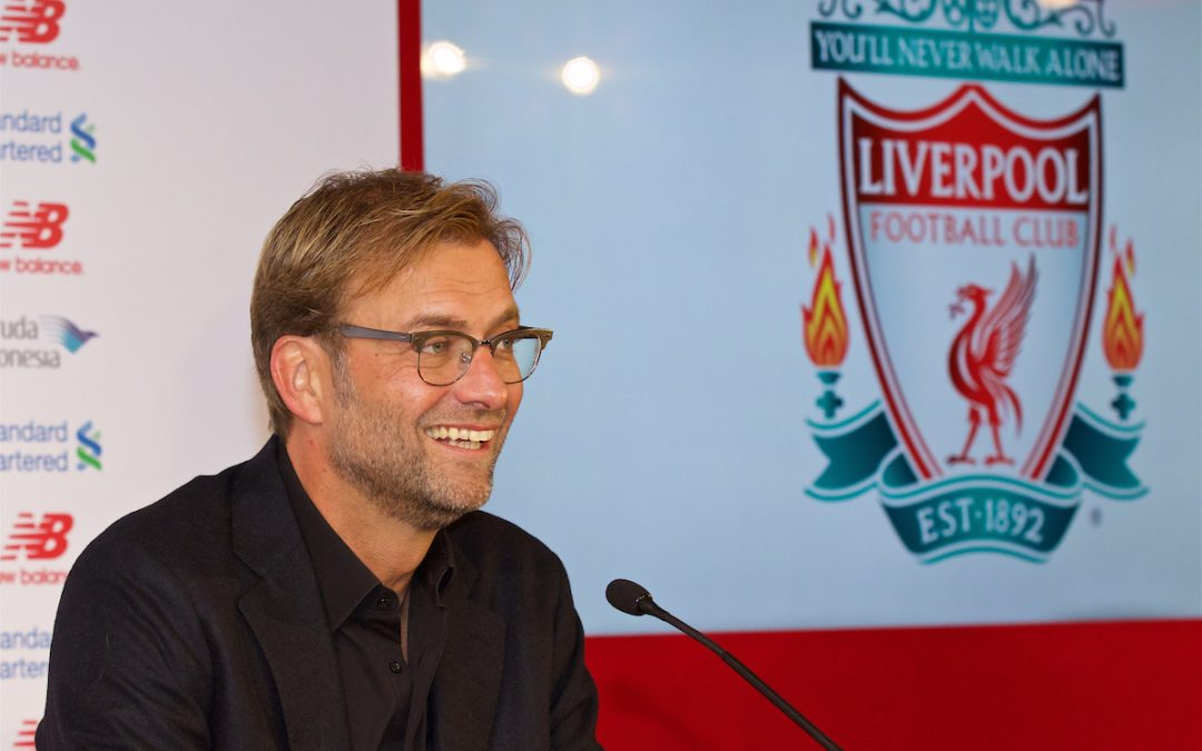 Friday, October 9, 2015: Liverpool's new manager Jürgen Klopp during a press conference at Anfield.