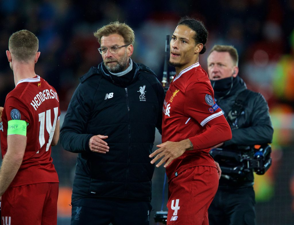 LIVERPOOL, ENGLAND - Wednesday, April 4, 2018: Liverpool's manager Jürgen Klopp and Virgil van Dijk (right) celebrate after the 3-0 victory over Manchester City during the UEFA Champions League Quarter-Final 1st Leg match between Liverpool FC and Manchester City FC at Anfield. (Pic by David Rawcliffe/Propaganda)