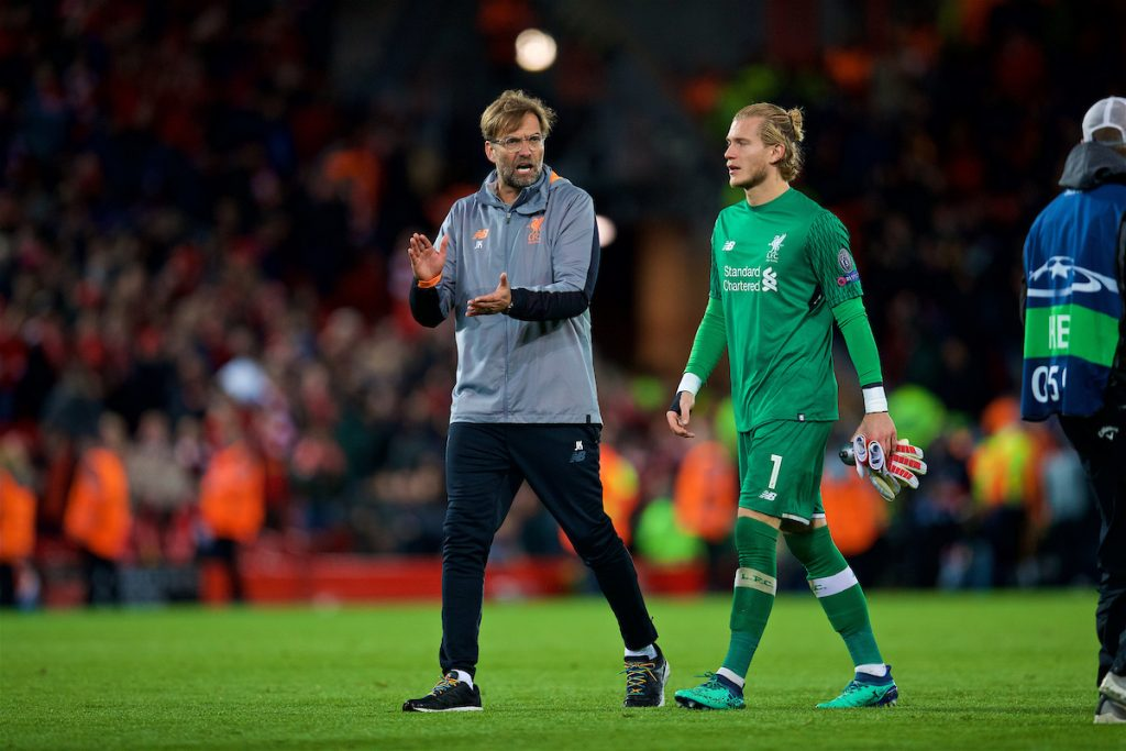 LIVERPOOL, ENGLAND - Tuesday, April 24, 2018: Liverpool's manager Jürgen Klopp and goalkeeper Loris Karius after the 5-2 victory over AS Roma during the UEFA Champions League Semi-Final 1st Leg match between Liverpool FC and AS Roma at Anfield. (Pic by David Rawcliffe/Propaganda)