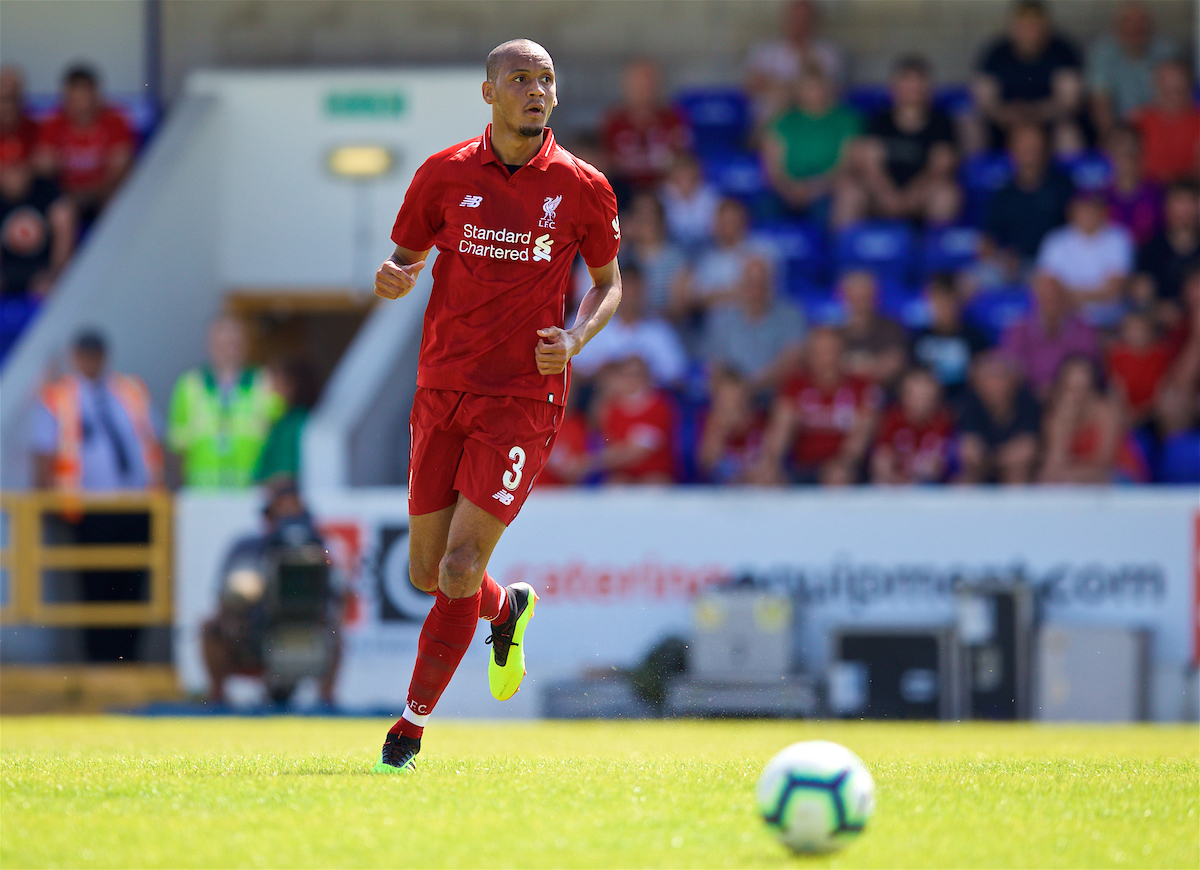 CHESTER, ENGLAND - Saturday, July 7, 2018: Liverpool's new signing Fabio Henrique Tavares 'Fabinho' during a preseason friendly match between Chester FC and Liverpool FC at the Deva Stadium. (Pic by Paul Greenwood/Propaganda)