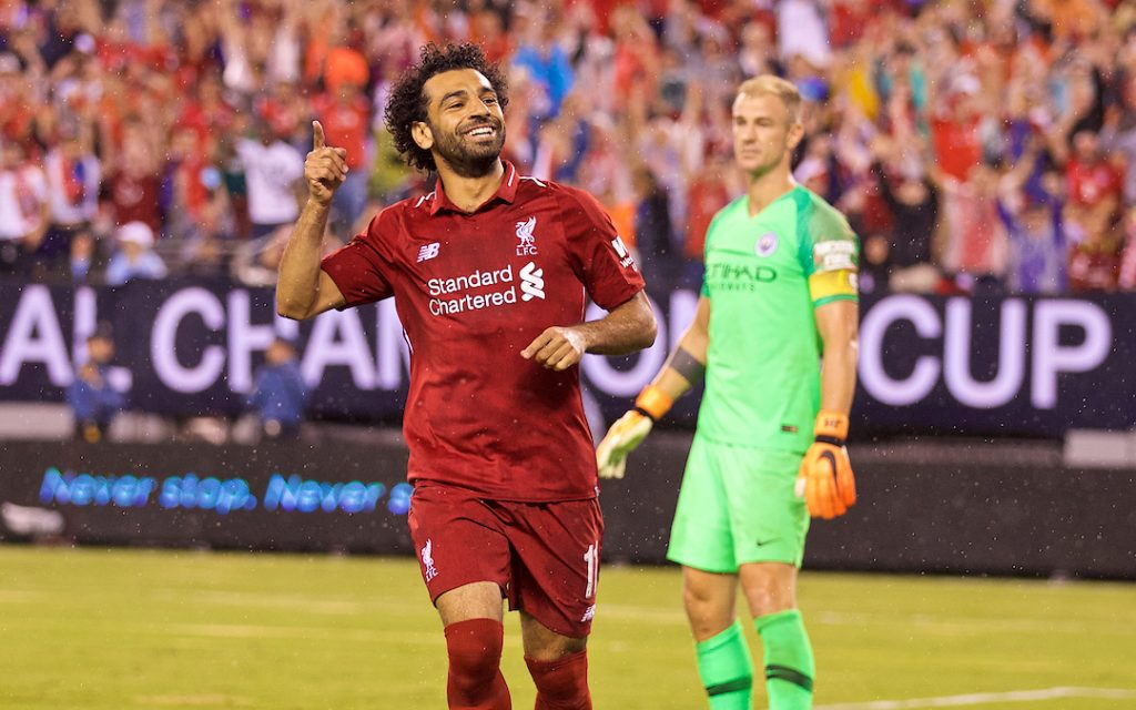 NEW JERSEY, USA - Wednesday, July 25, 2018: Liverpool's Mohamed Salah celebrate scoring the first equalising goal, to level the score 1-1, during a preseason International Champions Cup match between Manchester City FC and Liverpool FC at the Met Life Stadium. (Pic by David Rawcliffe/Propaganda)