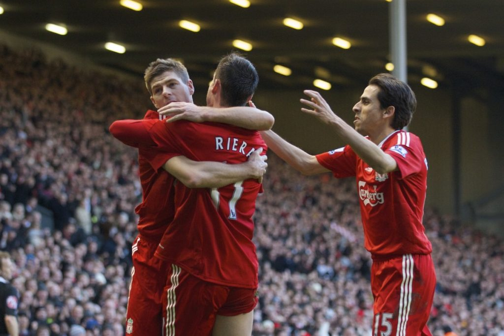 LIVERPOOL, ENGLAND - Friday, December 26, 2008: Liverpool's Albert Riera celebrates his opening goal with team-mates captain Steven Gerrard MBE and Yossi Benayoun against Bolton Wanderers during the Premiership match at Anfield. (Photo by David Rawcliffe/Propaganda)