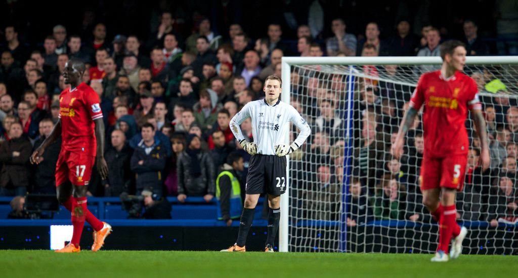 LONDON, ENGLAND - Sunday, December 29, 2013: Liverpool's goalkeeper Simon Mignolet looks dejected as Chelsea score the second goal during the Premiership match at Stamford Bridge. (Pic by David Rawcliffe/Propaganda)