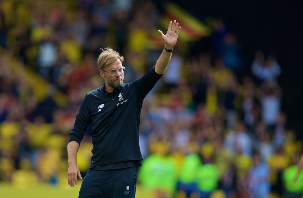 WATFORD, ENGLAND - Saturday, August 12, 2017: Liverpool's manager Jürgen Klopp waves to the travelling supporters after the 3-3 draw during the FA Premier League match between Watford and Liverpool at Vicarage Road. (Pic by David Rawcliffe/Propaganda)