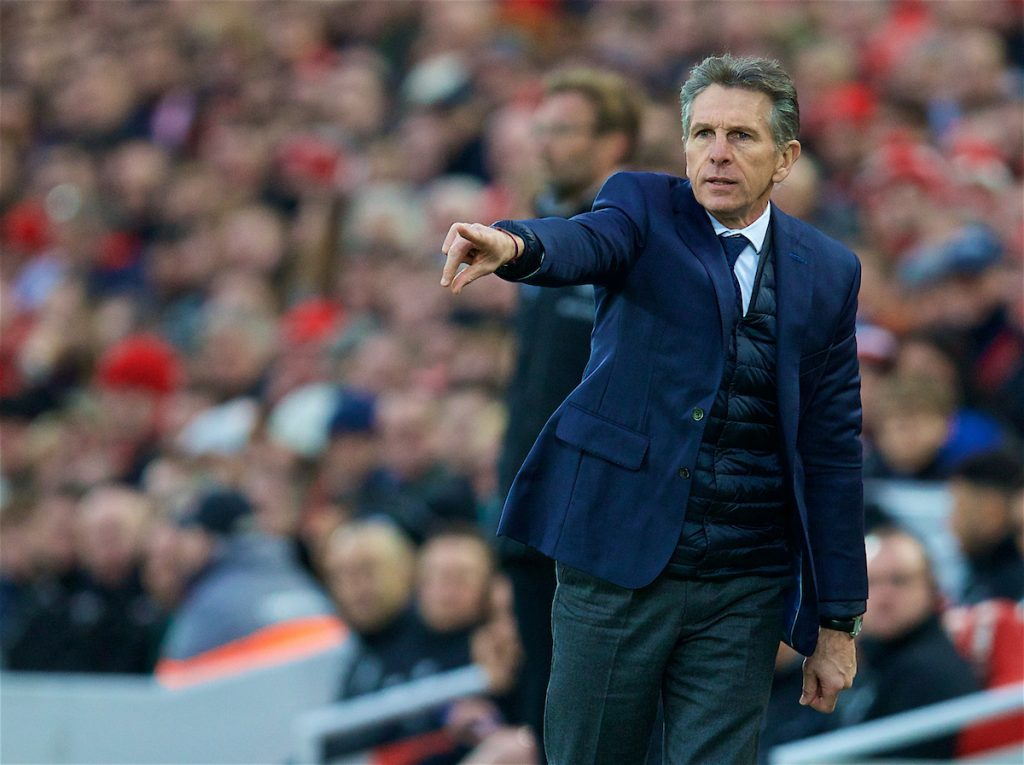 LIVERPOOL, ENGLAND - Saturday, December 30, 2017: Leicester City's manager Claude Puel during the FA Premier League match between Liverpool and Leicester City at Anfield. (Pic by David Rawcliffe/Propaganda)