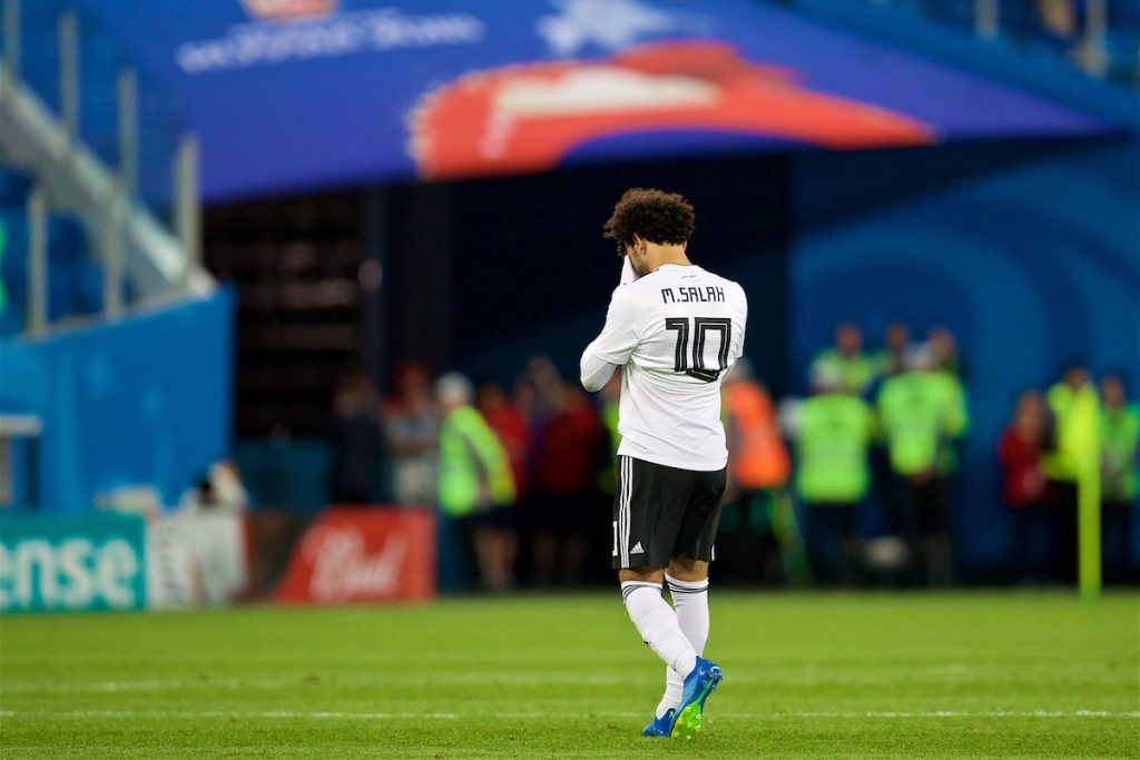 SAINT PETERSBURG, RUSSIA - Tuesday, June 19, 2018: Egypt's Mohamed Salah walks off dejected as his side lose 3-1 during the FIFA World Cup Russia 2018 Group A match between Russia and Egypt at the Saint Petersburg Stadium. (Pic by David Rawcliffe/Propaganda)