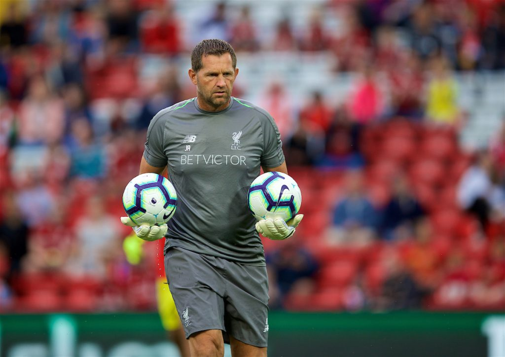 LIVERPOOL, ENGLAND - Tuesday, August 7, 2018: Liverpool's goalkeeping coach John Achterberg during the pre-match warm-up before the preseason friendly match between Liverpool FC and Torino FC at Anfield. (Pic by David Rawcliffe/Propaganda)