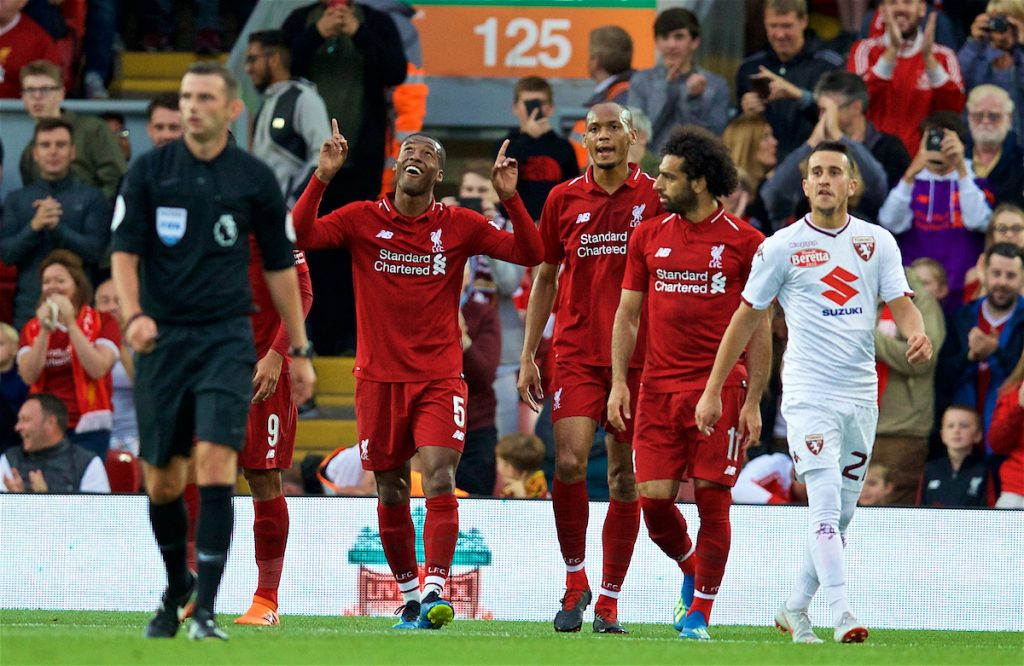 LIVERPOOL, ENGLAND - Tuesday, August 7, 2018: Liverpool's Georginio Wijnaldum celebrates scoring the second goal during the preseason friendly match between Liverpool FC and Torino FC at Anfield. (Pic by David Rawcliffe/Propaganda)