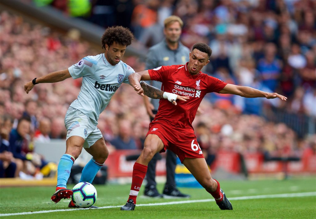 LIVERPOOL, ENGLAND - Sunday, August 12, 2018: Liverpool's Trent Alexander-Arnold and West Ham United's Felipe Anderson during the FA Premier League match between Liverpool FC and West Ham United FC at Anfield. (Pic by David Rawcliffe/Propaganda)