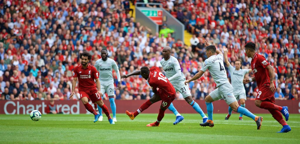 LIVERPOOL, ENGLAND - Sunday, August 12, 2018: Liverpool's Sadio Mane scores the third goal during the FA Premier League match between Liverpool FC and West Ham United FC at Anfield. (Pic by David Rawcliffe/Propaganda)