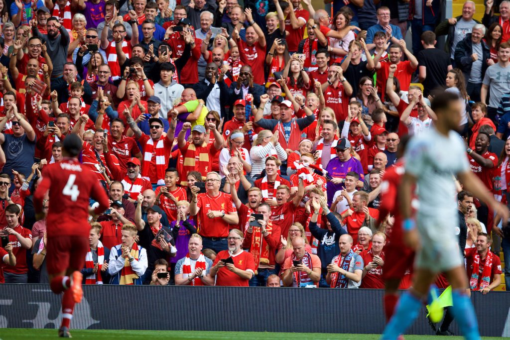 LIVERPOOL, ENGLAND - Sunday, August 12, 2018: Liverpool supporters celebrate the fourth goal during the FA Premier League match between Liverpool FC and West Ham United FC at Anfield. (Pic by David Rawcliffe/Propaganda)
