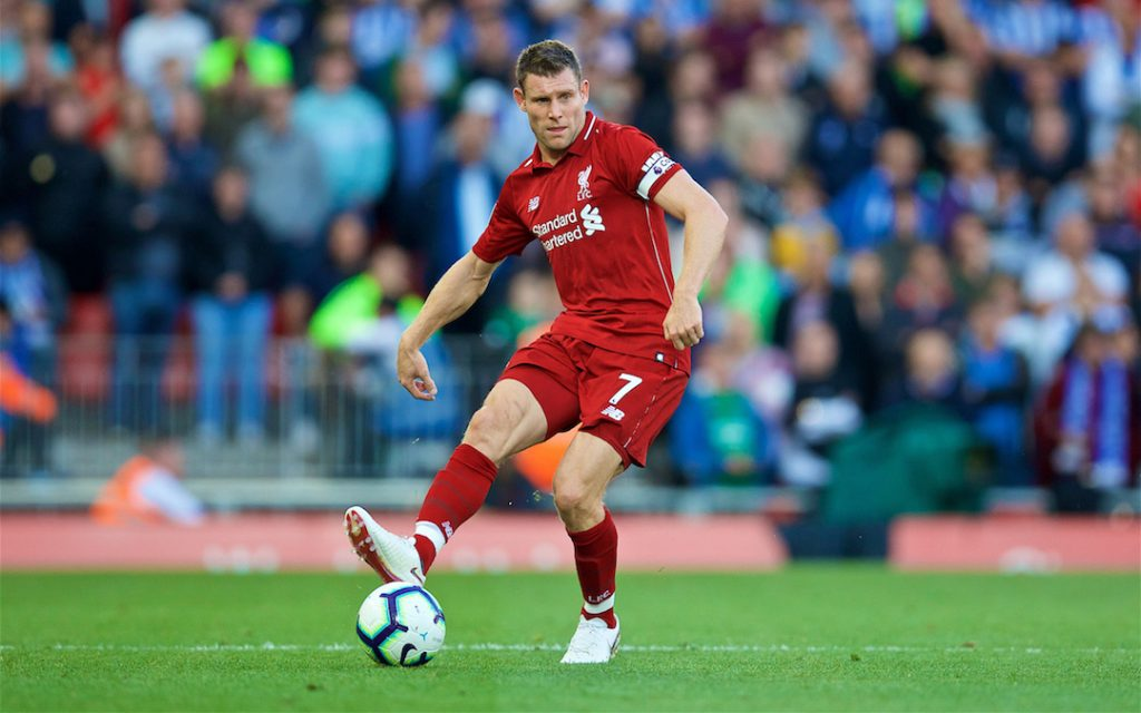 LIVERPOOL, ENGLAND - Saturday, August 25, 2018: Liverpool's captain James Milner during the FA Premier League match between Liverpool FC and Brighton & Hove Albion FC at Anfield. (Pic by David Rawcliffe/Propaganda)