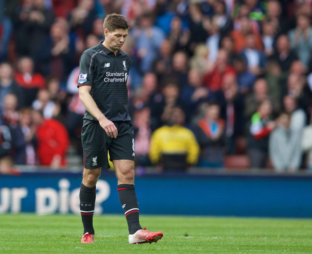 STOKE-ON-TRENT, ENGLAND - Sunday, May 24, 2015: Liverpool's captain Steven Gerrard looks dejected as Stoke City score the sixth goal during a 6-1 defeat in the Premier League match at the Britannia Stadium. (Pic by David Rawcliffe/Propaganda)