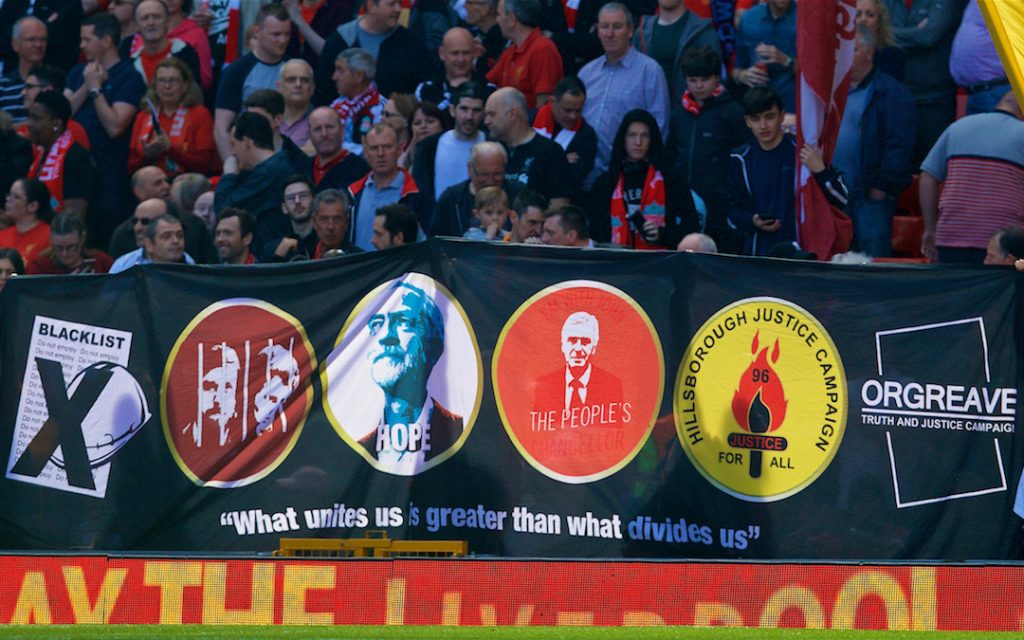 LIVERPOOL, ENGLAND - Sunday, May 7, 2017: Liverpool supporters' banner featuring Labour Party leader Jeremy Corbyn on display on the Spion Kop before the FA Premier League match against Southampton at Anfield. (Pic by David Rawcliffe/Propaganda)