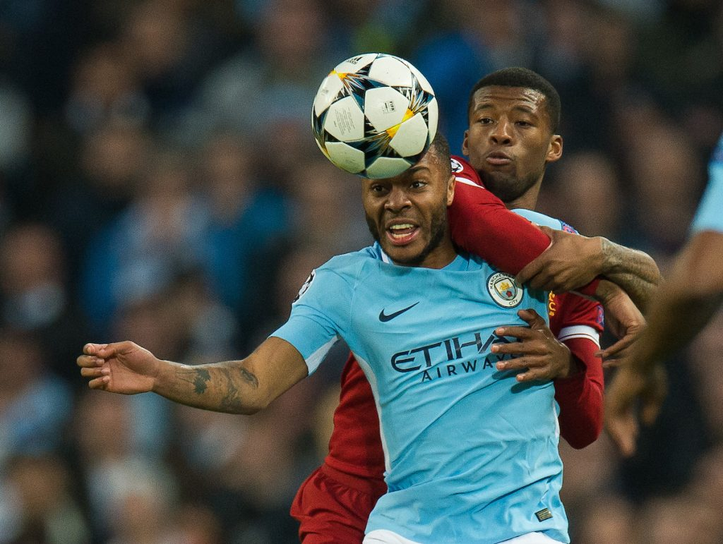 MANCHESTER, ENGLAND - Tuesday, April 10, 2018: Raheem Sterling of Manchester City in action with Georginio Wijnaldum of Liverpool during the UEFA Champions League Quarter-Final 2nd Leg match between Manchester City FC and Liverpool FC at the City of Manchester Stadium. (Pic by Peter Powell/Propaganda)
