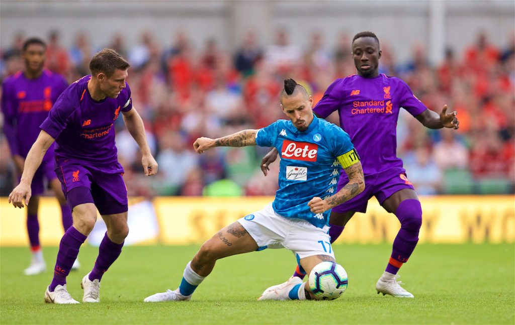 DUBLIN, REPUBLIC OF IRELAND - Saturday, August 4, 2018: Napoli's captain Marek Hamšík and Liverpool's James Milner (left) and Naby Keita (right) during the preseason friendly match between SSC Napoli and Liverpool FC at Landsdowne Road. (Pic by David Rawcliffe/Propaganda)
