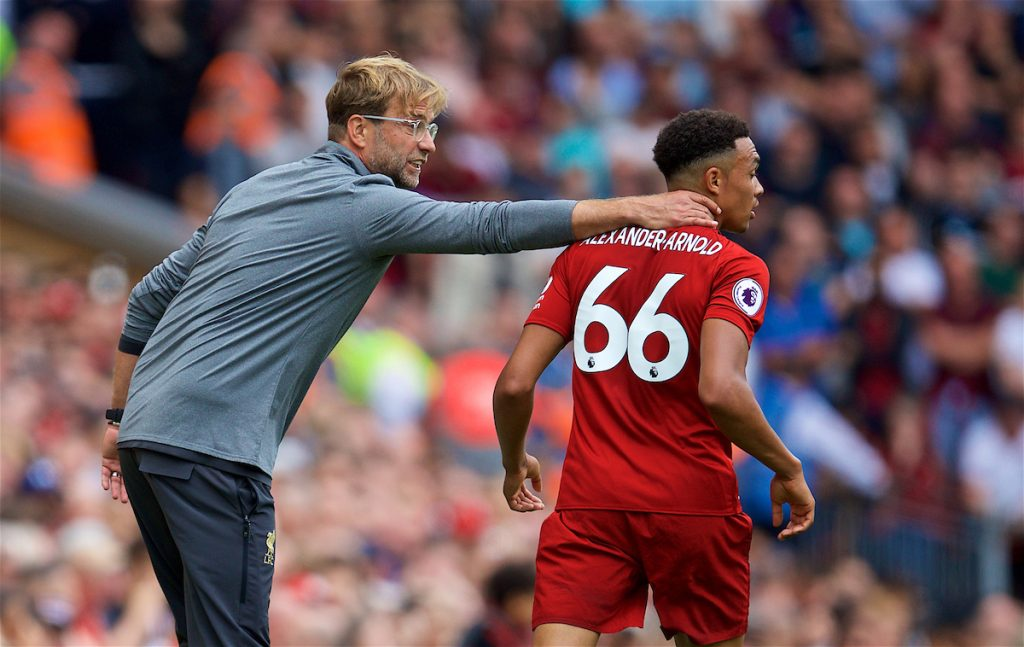LIVERPOOL, ENGLAND - Sunday, August 12, 2018: Liverpool's manager Jürgen Klopp with Trent Alexander-Arnold during the FA Premier League match between Liverpool FC and West Ham United FC at Anfield. (Pic by David Rawcliffe/Propaganda)