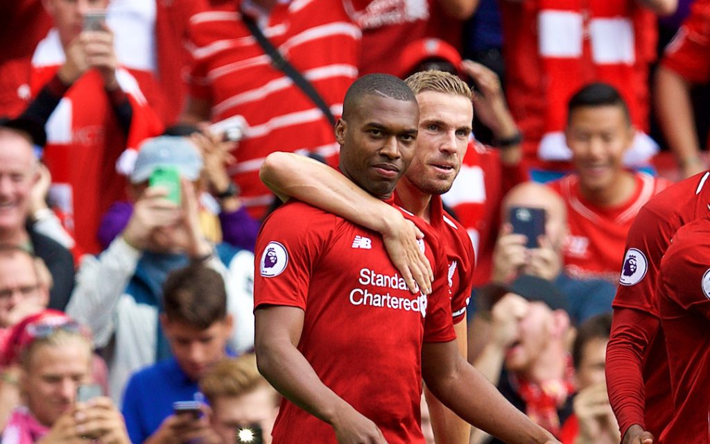LIVERPOOL, ENGLAND - Sunday, August 12, 2018: Liverpool's Daniel Sturridge celebrates scoring the fourth goal during the FA Premier League match between Liverpool FC and West Ham United FC at Anfield. (Pic by David Rawcliffe/Propaganda)