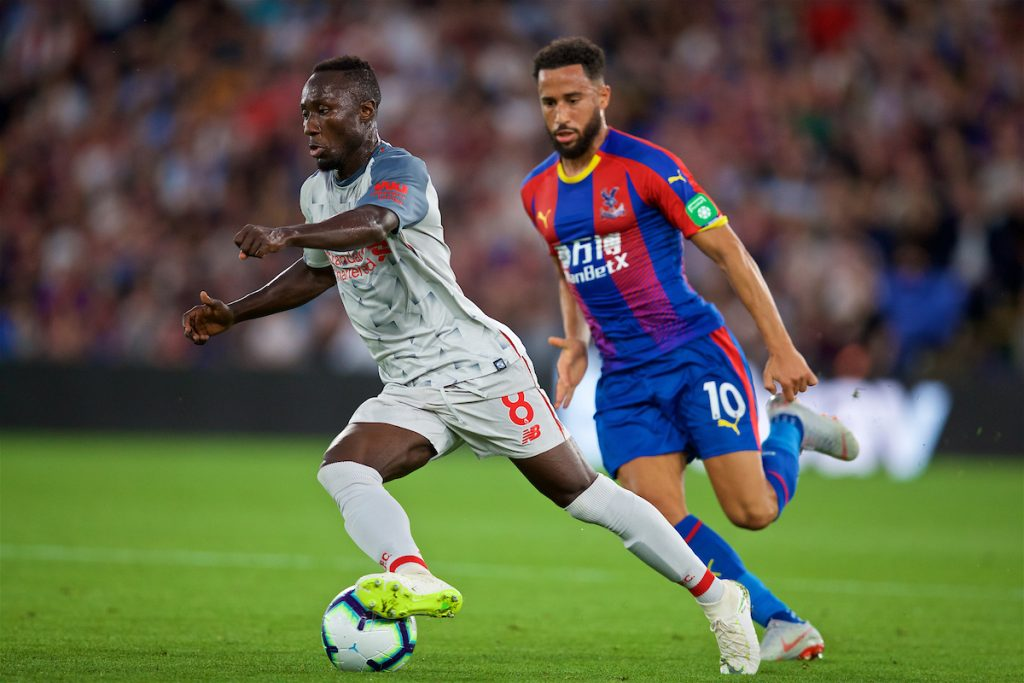 LONDON, ENGLAND - Monday, August 20, 2018: Liverpool's Naby Keita and Crystal Palace's Andros Townsend during the FA Premier League match between Crystal Palace and Liverpool FC at Selhurst Park. (Pic by David Rawcliffe/Propaganda)