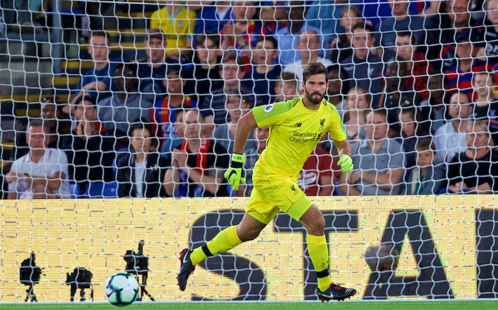 LONDON, ENGLAND - Monday, August 20, 2018: Liverpool's goalkeeper Alisson Becker during the FA Premier League match between Crystal Palace and Liverpool FC at Selhurst Park. (Pic by David Rawcliffe/Propaganda)