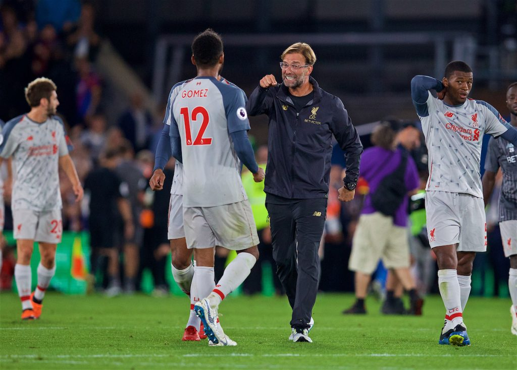 LONDON, ENGLAND - Monday, August 20, 2018: Liverpool's Joe Gomez and manager Jürgen Klopp celebrate after the FA Premier League match between Crystal Palace and Liverpool FC at Selhurst Park. (Pic by David Rawcliffe/Propaganda)
