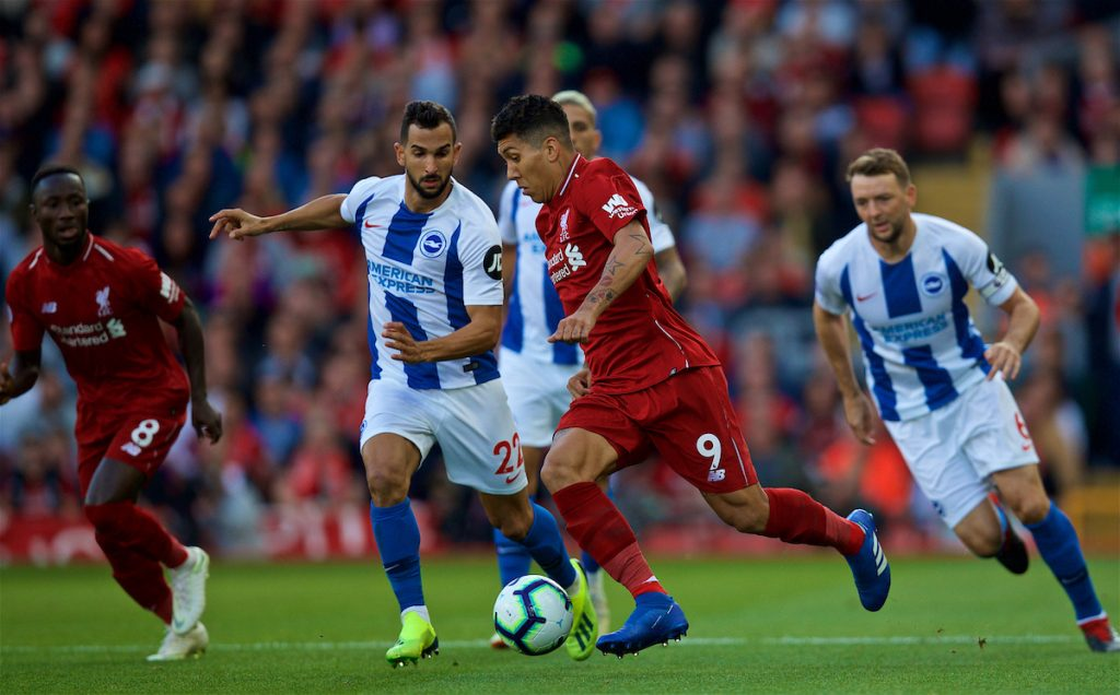 LIVERPOOL, ENGLAND - Saturday, August 25, 2018: Brighton & Hove Albion's Martín Montoya (left) and Liverpool's Roberto Firmino (right) during the FA Premier League match between Liverpool FC and Brighton & Hove Albion FC at Anfield. (Pic by David Rawcliffe/Propaganda)