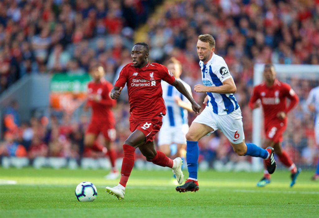 LIVERPOOL, ENGLAND - Saturday, August 25, 2018: Liverpool's Naby Keita and Brighton & Hove Albion's captain Dale Stephens during the FA Premier League match between Liverpool FC and Brighton & Hove Albion FC at Anfield. (Pic by David Rawcliffe/Propaganda)