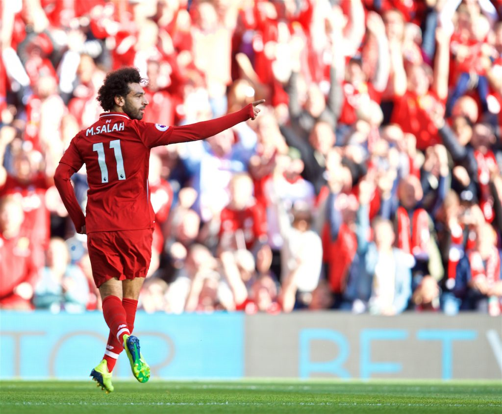 LIVERPOOL, ENGLAND - Saturday, August 25, 2018: Liverpool's Mohamed Salah celebrates scoring the first goal during the FA Premier League match between Liverpool FC and Brighton & Hove Albion FC at Anfield. (Pic by David Rawcliffe/Propaganda)