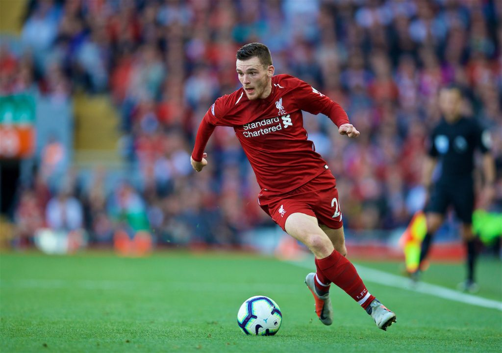 LIVERPOOL, ENGLAND - Saturday, August 25, 2018: Liverpool's Andy Robertson during the FA Premier League match between Liverpool FC and Brighton & Hove Albion FC at Anfield. (Pic by David Rawcliffe/Propaganda)