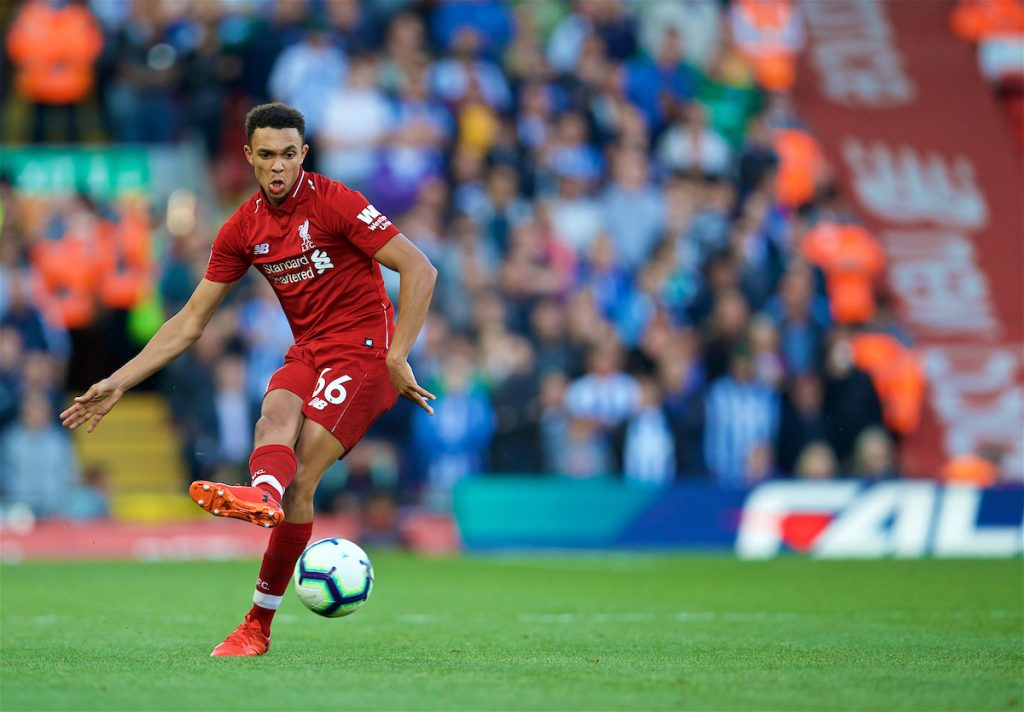 LIVERPOOL, ENGLAND - Saturday, August 25, 2018: Liverpool's Trent Alexander-Arnold during the FA Premier League match between Liverpool FC and Brighton & Hove Albion FC at Anfield. (Pic by David Rawcliffe/Propaganda)