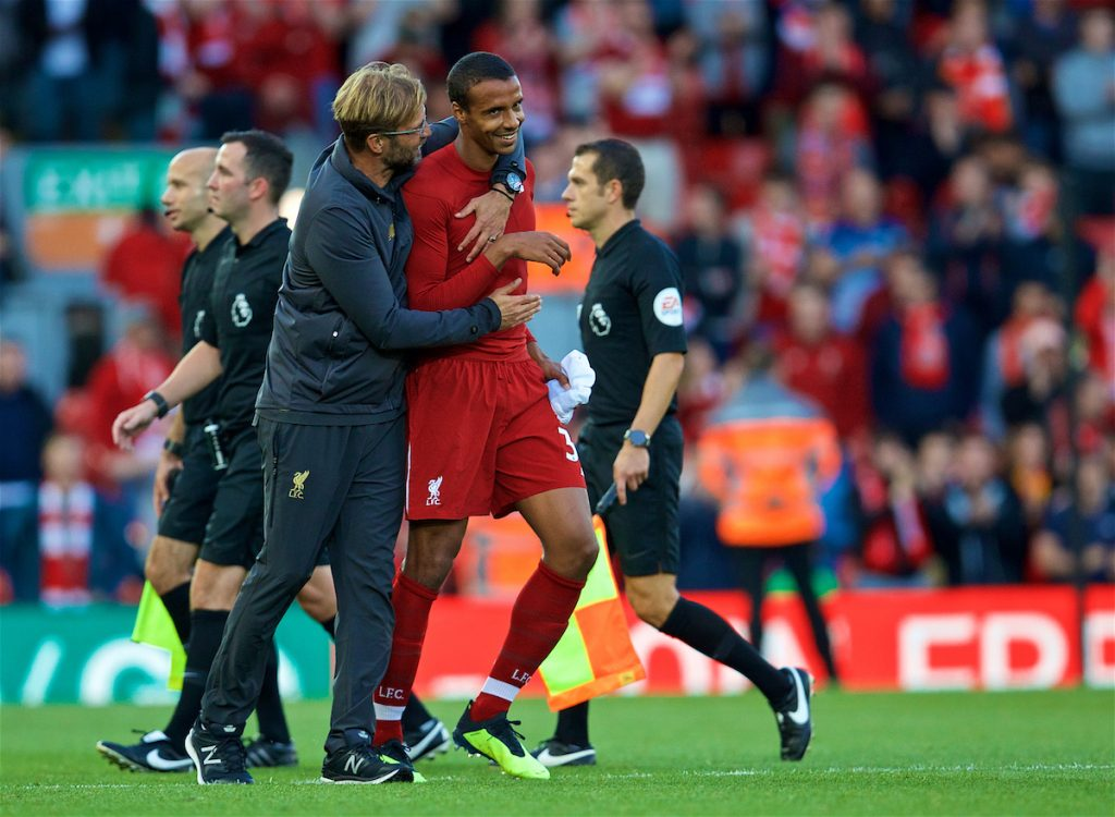 LIVERPOOL, ENGLAND - Saturday, August 25, 2018: Liverpool's manager Jürgen Klopp and Joel Matip celebrates after the 1:0 victory at the FA Premier League match between Liverpool FC and Brighton & Hove Albion FC at Anfield. (Pic by David Rawcliffe/Propaganda)
