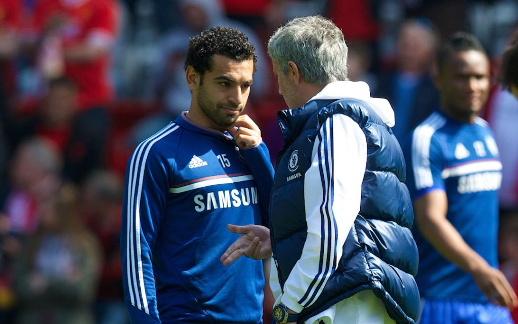 LIVERPOOL, ENGLAND - Sunday, April 27, 2014: A nervous looking Chelsea manager Jose Mourinho with Mohamed Salah on the pitch before the Premiership match against Liverpool at Anfield. (Pic by David Rawcliffe/Propaganda)