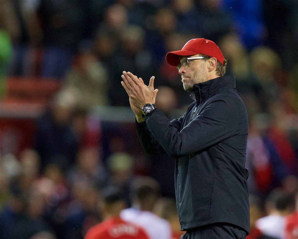 LIVERPOOL, ENGLAND - Sunday, November 8, 2015: Liverpool's manager Jürgen Klopp applause the supporters after his side's 2-1 home defeat to Crystal Palace during the Premier League match at Anfield. (Pic by David Rawcliffe/Propaganda)