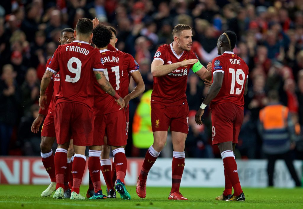 LIVERPOOL, ENGLAND - Tuesday, April 24, 2018: Liverpool's Sadio Mane scores the third goal with team-mate captain Jordan Henderson during the UEFA Champions League Semi-Final 1st Leg match between Liverpool FC and AS Roma at Anfield. (Pic by David Rawcliffe/Propaganda)