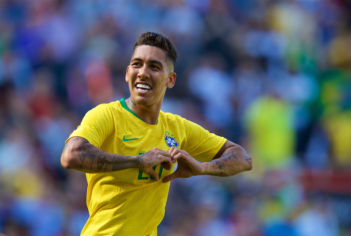 LIVERPOOL, ENGLAND - Sunday, June 3, 2018: Brazil and Liverpool striker Roberto Firmino celebrates scoring the second goal during an international friendly between Brazil and Croatia at Anfield. Brazil won 2-0. (Pic by David Rawcliffe/Propaganda)