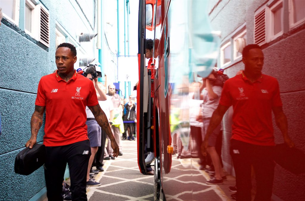 BIRKENHEAD, ENGLAND - Tuesday, July 10, 2018: Liverpool's Nathaniel Clyne gets off the team coach before a preseason friendly match between Tranmere Rovers FC and Liverpool FC at Prenton Park. (Pic by Paul Greenwood/Propaganda)