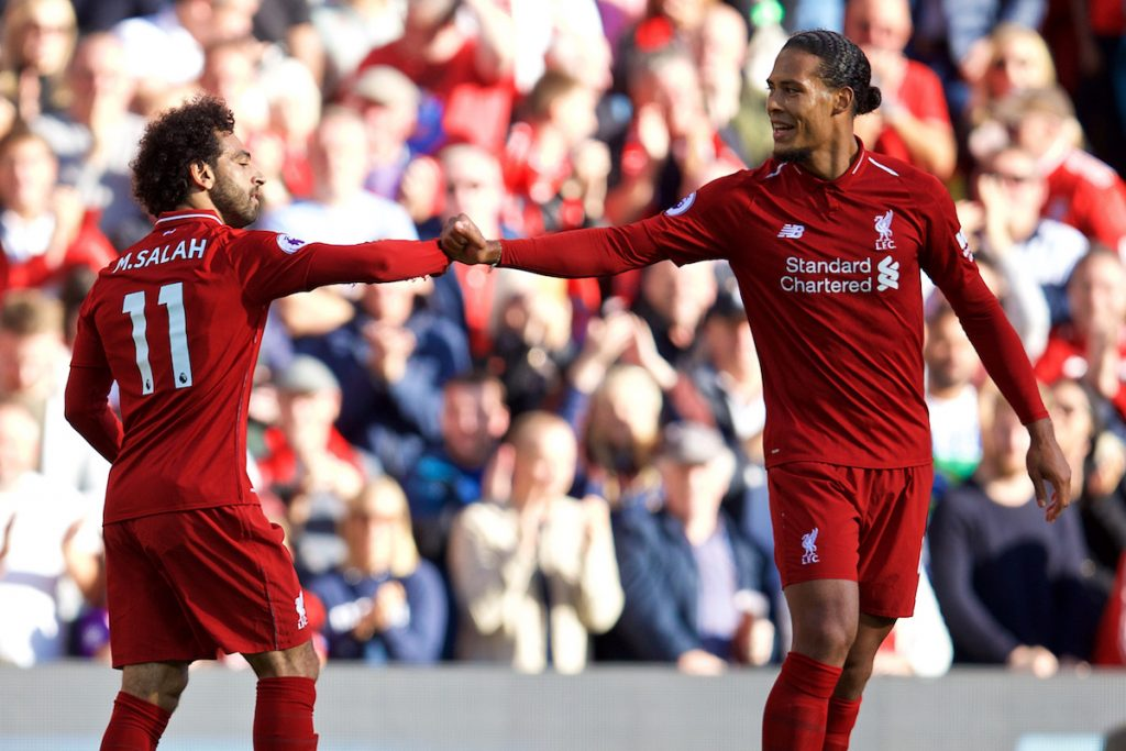 LIVERPOOL, ENGLAND - Saturday, August 25, 2018: Liverpool's Mohamed Salah celebrates scoring the only goal with team-mate Virgil van Dijk (right) during the FA Premier League match between Liverpool FC and Brighton & Hove Albion FC at Anfield. Liverpool won 1-0. (Pic by David Rawcliffe/Propaganda)