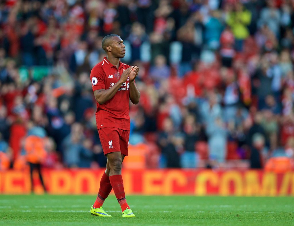 LIVERPOOL, ENGLAND - Saturday, August 25, 2018: Liverpool's Daniel Sturridge applauds the supporters after the 1-0 victory during the FA Premier League match between Liverpool FC and Brighton & Hove Albion FC at Anfield. (Pic by David Rawcliffe/Propaganda)
